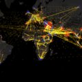 24 hours of global air traffic in 4 seconds